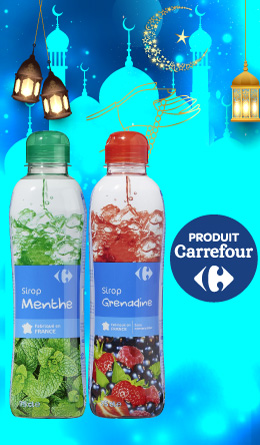 Sirop Carrefour  Menthe / Grenadine 75Cl